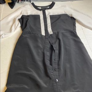 Attention Black and White Long Sleeve Dress Medium